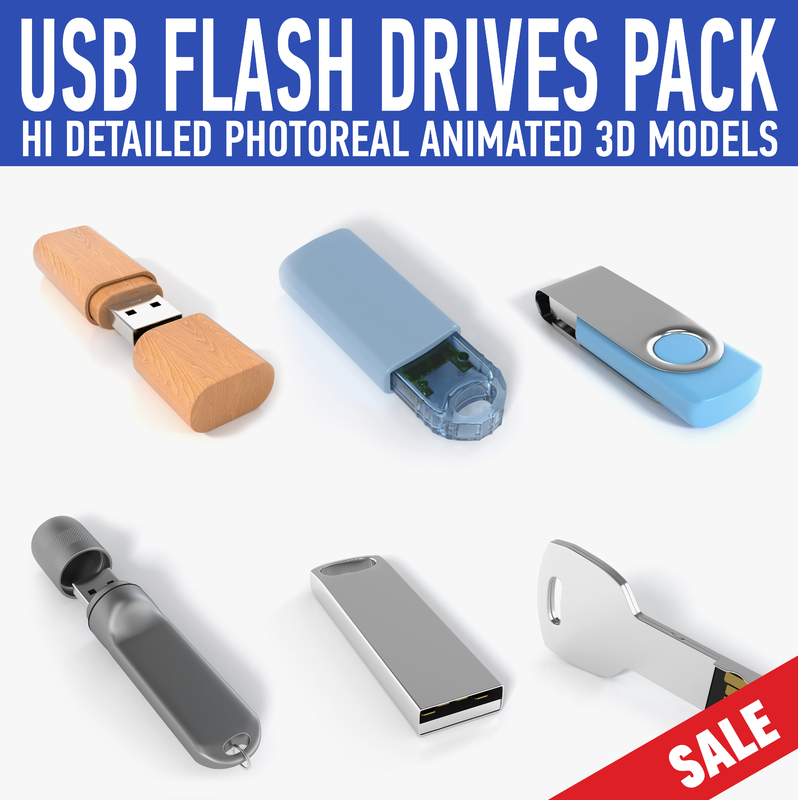 usb flash drive pack c4d