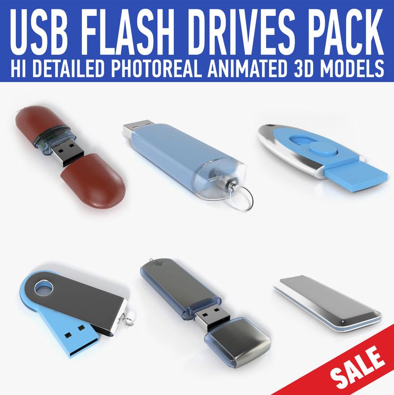usb flash drive pack 3d obj