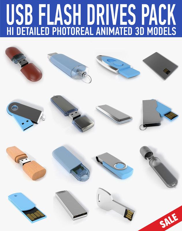 3d usb flash drive pack
