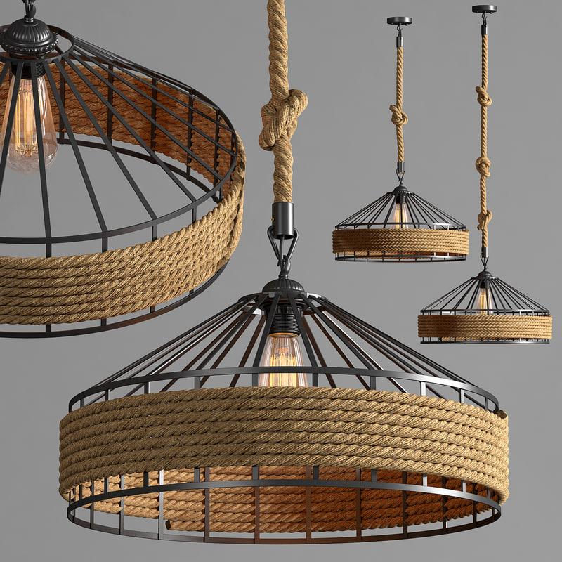 hanging lamp loft 3d max