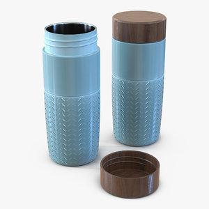 3d travel mug blue model