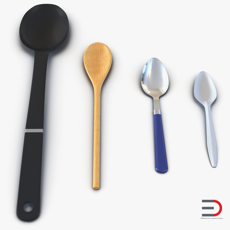 c4d spoons set plastic