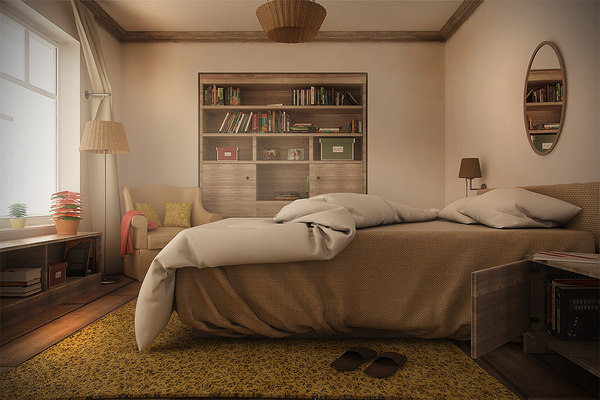 farmhouse bedroom night day 3d model