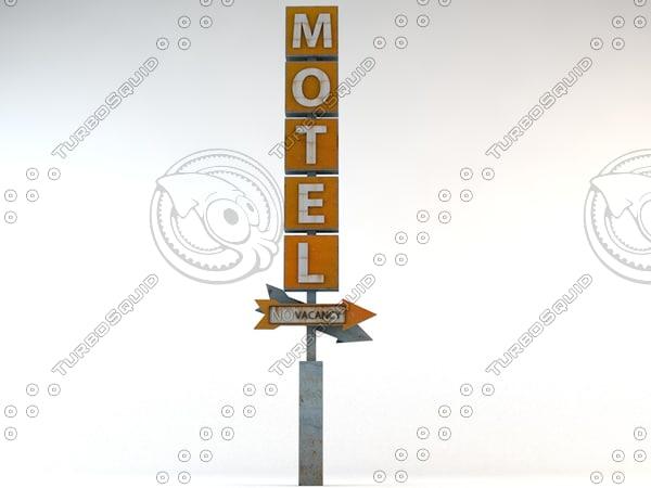 3d motel old sign