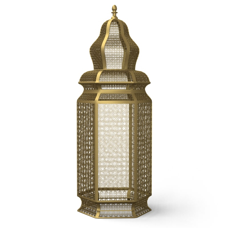 3d model of moroccan brass floor lamps