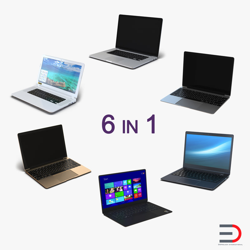 generic laptops 2 3d model
