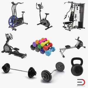 gym dumbbell weights elliptical 3d max