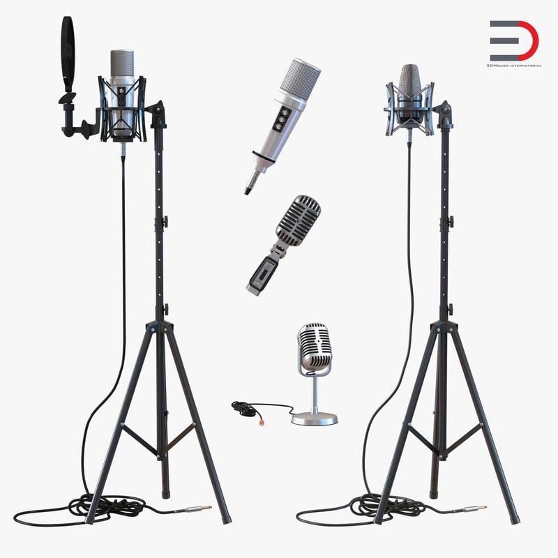 studio microphones 2 stand 3d 3ds