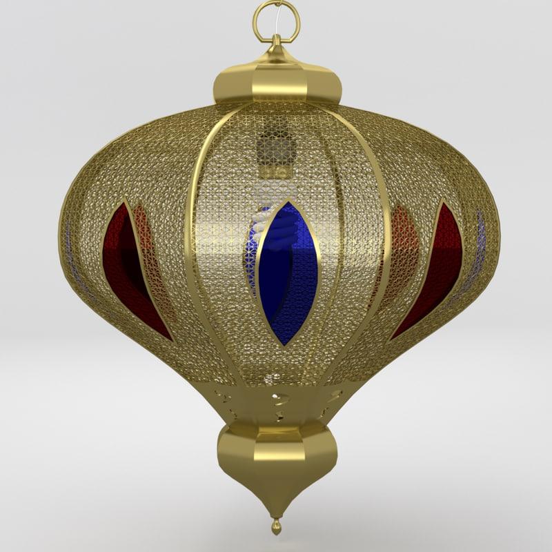 arabic lamp brass 3d obj