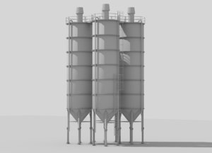 3d model industrial silos 1