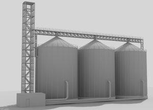 3d model of industrial silos 2