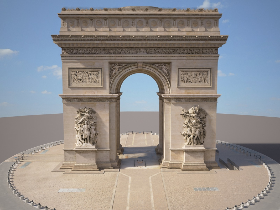 paris triumphal arch 3d model