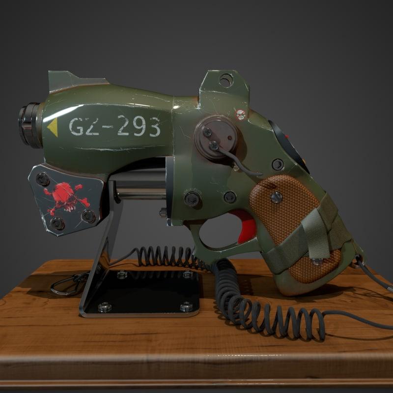 post-apocalyptic gun 3d model