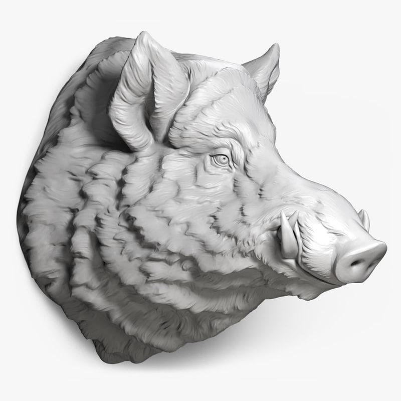 wild boar head obj