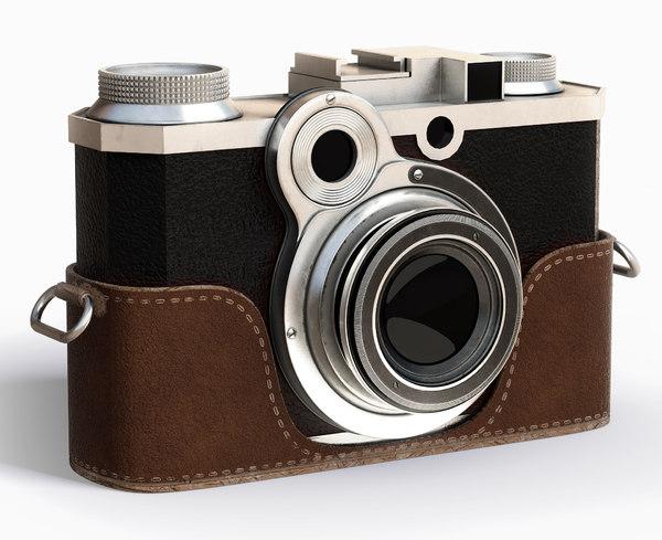 3d model vintage photo camera