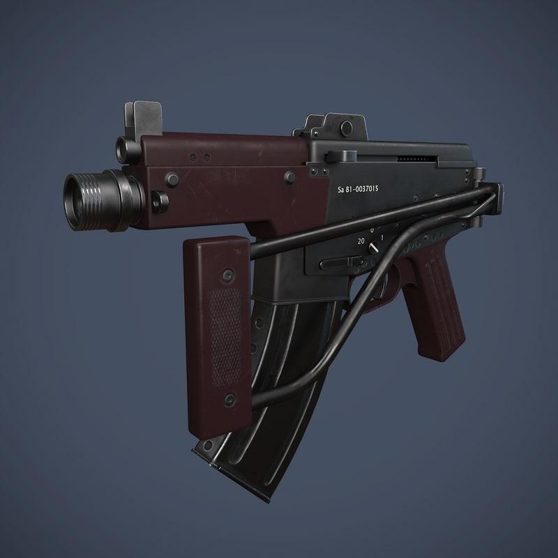 3d experimental assault rifle model
