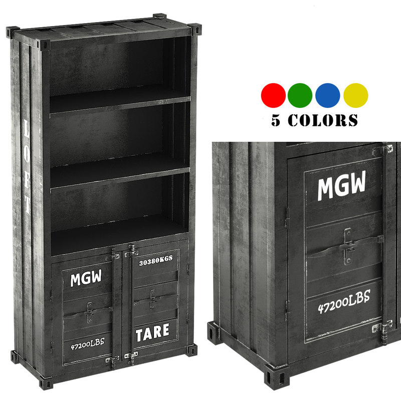 3d max sea container bookcase 5