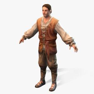medieval peasant 3d model