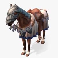medieval horse 01 obj