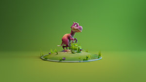 3d model cartoon trex