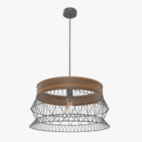 retro lattice wood chandelier 3d model