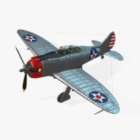 aircraft p-43 lancer real-time 3d model