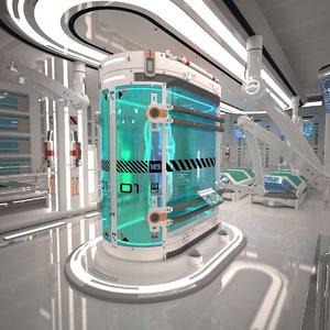 3d futuristic laboratory interior scene model