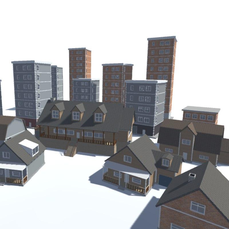 3d model city building pack houses