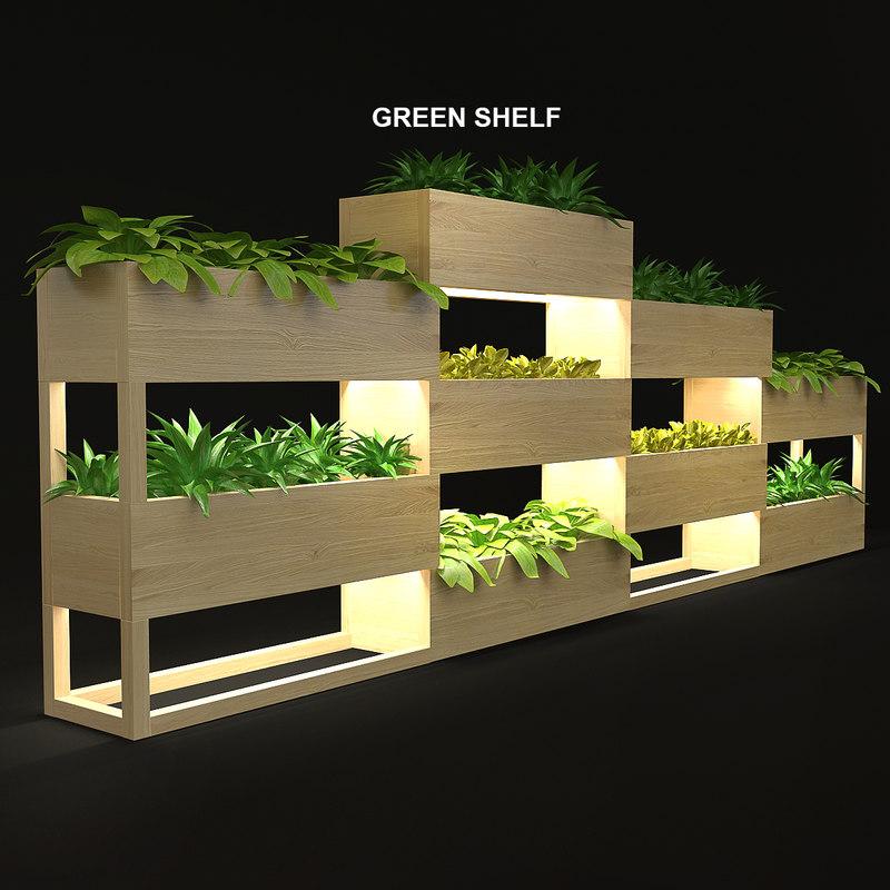 3d model shelf green