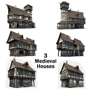 3d 3 medieval houses
