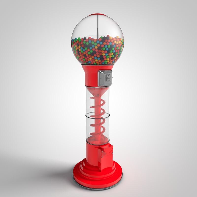 3d retro gumball machine