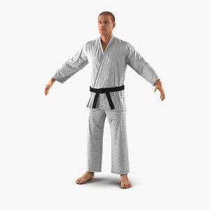 3d karate fighter fur model