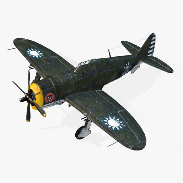 american republic p-47d real-time obj
