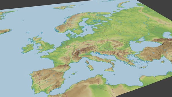 3d surface europe model