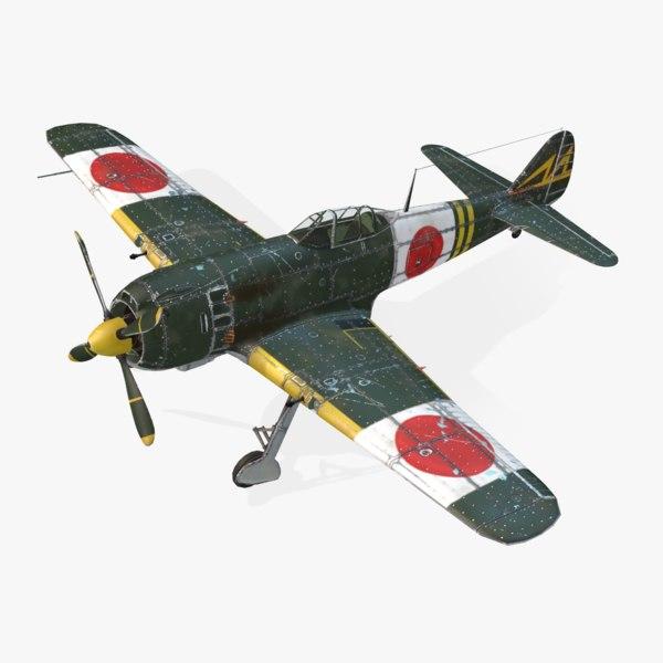 aircraft nakajima ki-84 hayate 3d max