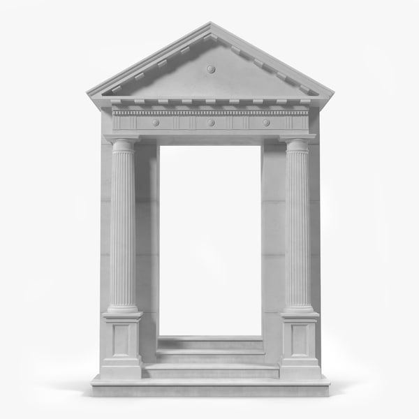3d door pediment greco roman