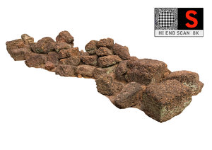 3d ancient rock stone 8k model