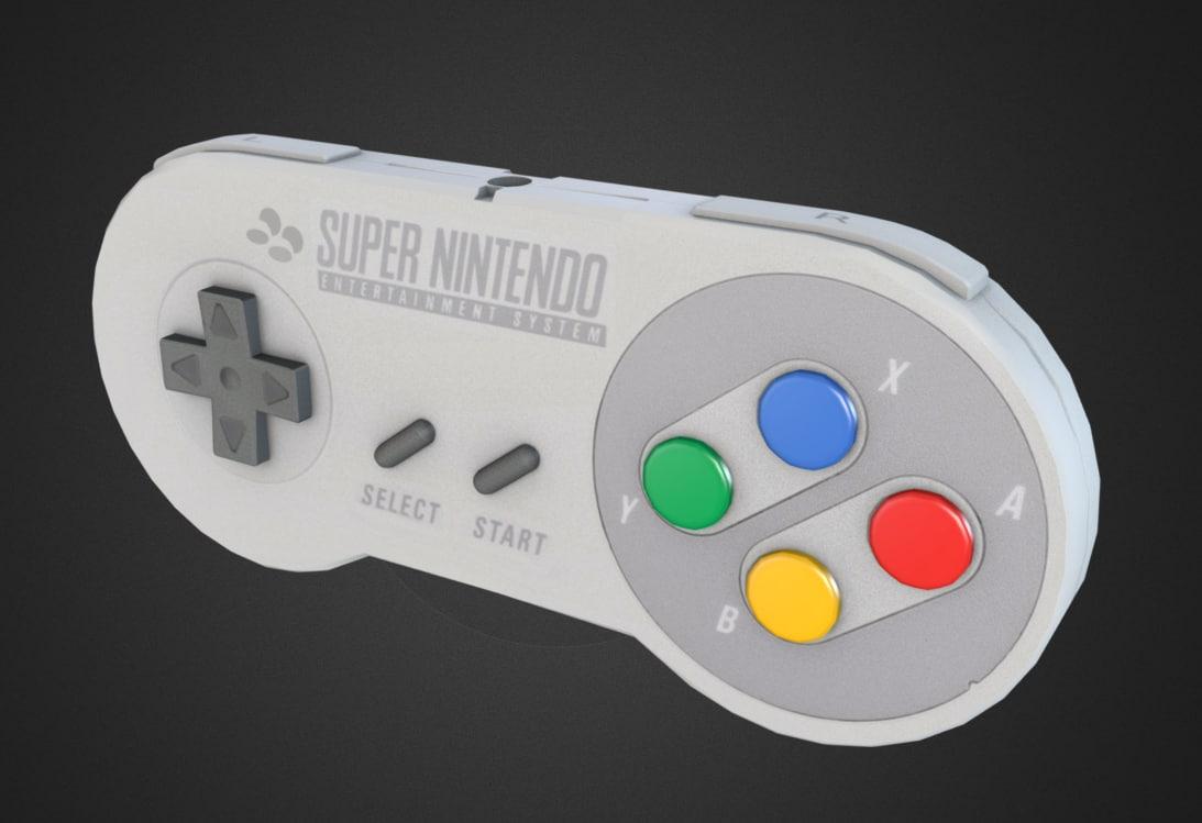 snes controller 3d model