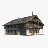 chalet realistic 3d model