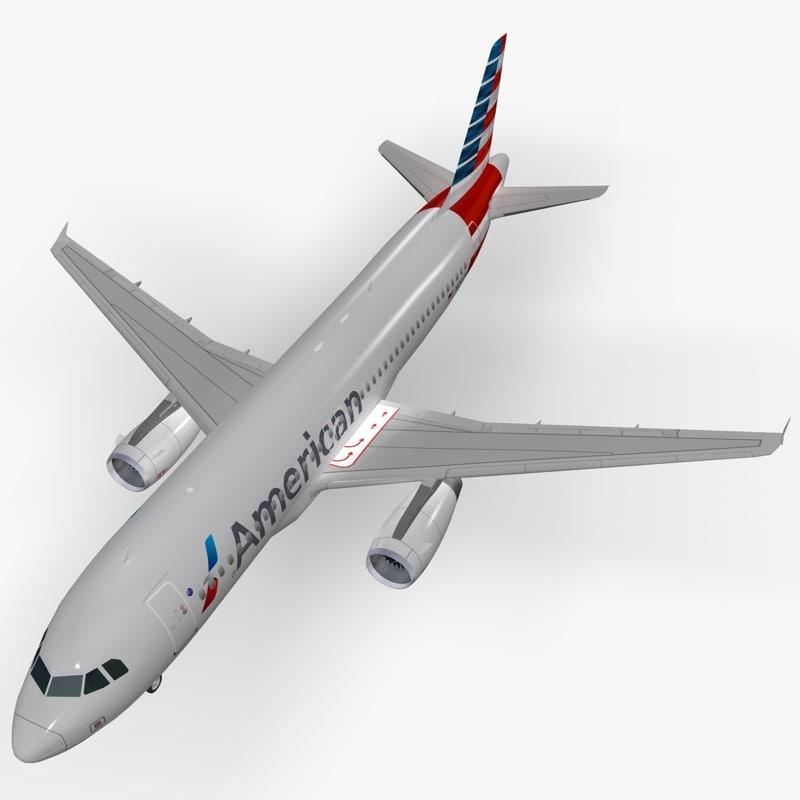 3d airbus american airlines model