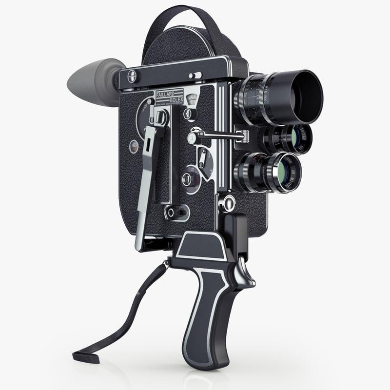 3d model vintage film camera paillard bolex