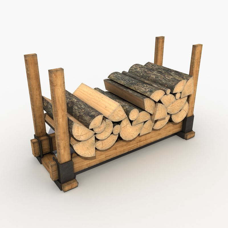 3d firewood stack wood model