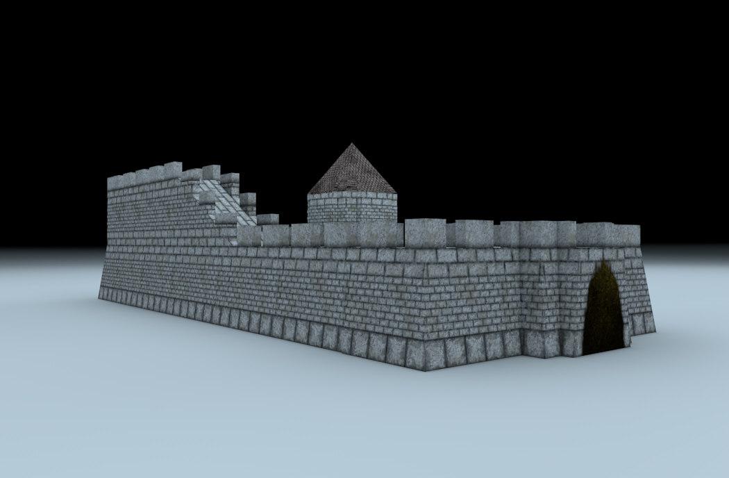 set medieval walls 3d x