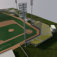 3d university baseball field model