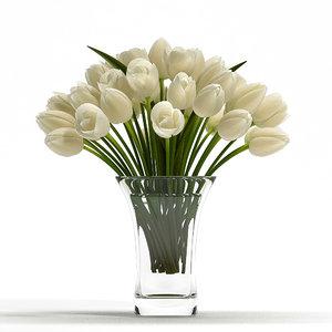 white tulip flowers 3d model