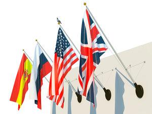 3d model flag facade set