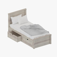 storage single bed 3d model