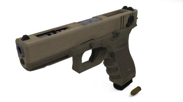 glock pistol 3d obj