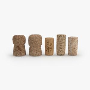 wine corks 3d max