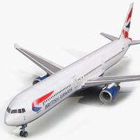 3d boeing 767-400er british airways model